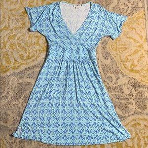 Vineyard Vines Blue And Green V-Neck Dress